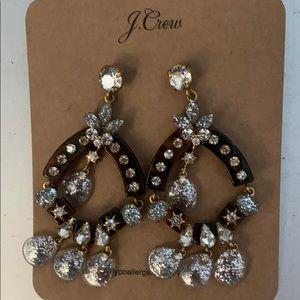 J Crew Tortoise and Silver Glitter Earring NWT